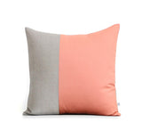 Two Tone Colorblock Pillow - Natural and Cantaloupe