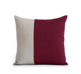 Two Tone Colorblock Pillow - Natural and Crimson