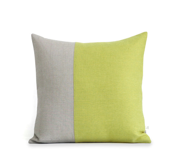 Two Tone Colorblock Pillow - Natural and Linden Green