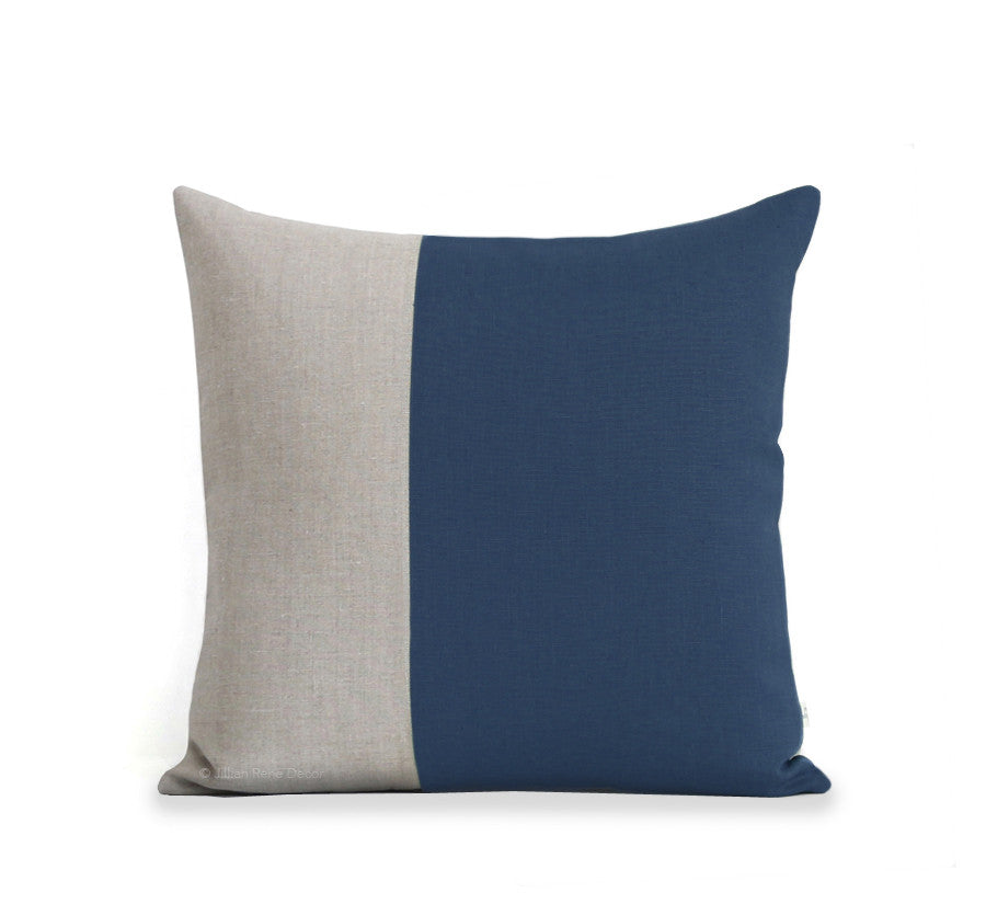 Two Tone Colorblock Pillow - Natural and Navy
