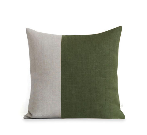 Two Tone Colorblock Pillow - Olive and Natural
