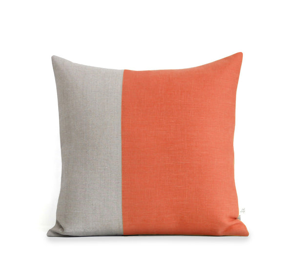 Two Tone Colorblock Pillow - Natural and Orange