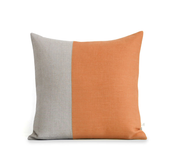 Two Tone Colorblock Pillow - Natural and Pumpkin
