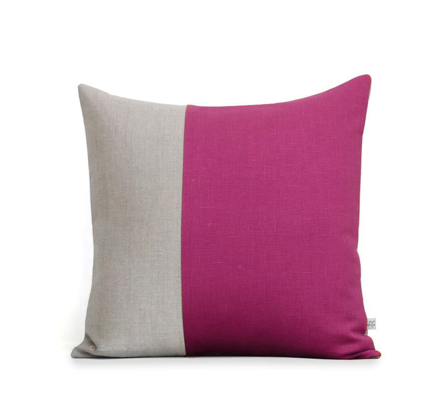 Two Tone Colorblock Pillow - Natural and Sangria