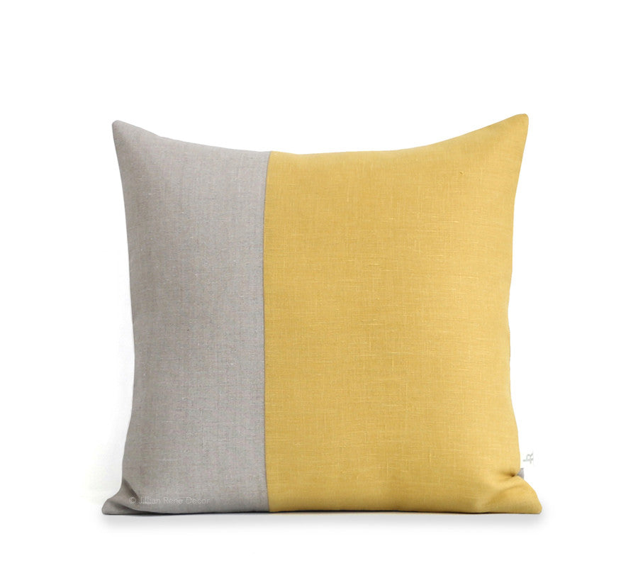 Two Tone Colorblock Pillow - Natural and Squash Yellow