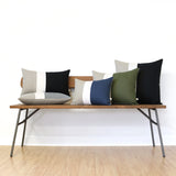 Colorblock Pillow - Olive Green, Black and Natural
