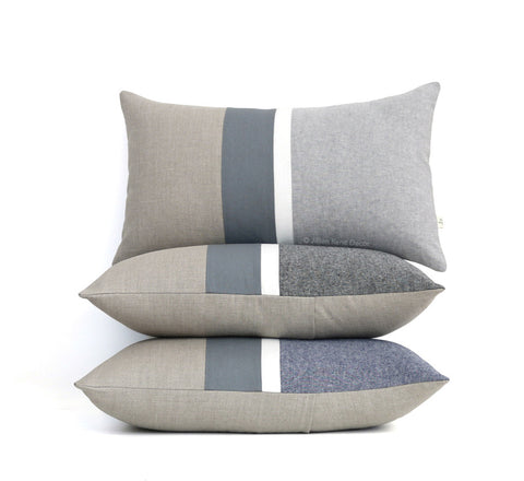 Chambray Striped Pillow - Grey