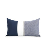 Navy Chambray Pillow with Metallic Silver Stripe