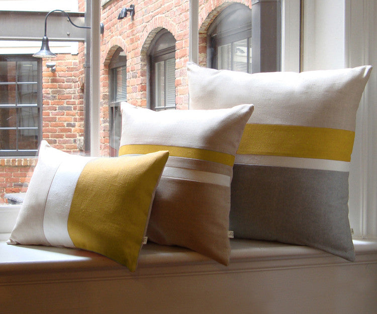 Chambray Striped Pillow Cover Set of 3 - Mustard Yellow
