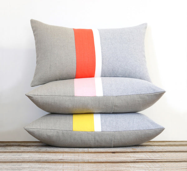 Spring Chambray Striped Pillow - Yellow, Pink or Coral