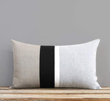 Chambray Striped Pillow - Black