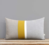 Chambray Striped Pillow - Mustard Yellow