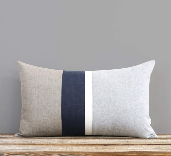 Chambray Striped Pillow - Navy