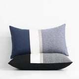 Black Chambray Pillow with Metallic Silver Stripe