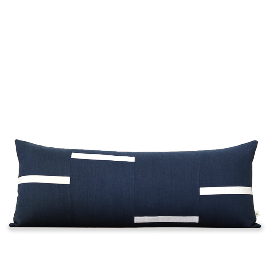 Interconnection Pillow - Navy and Cream Dashes