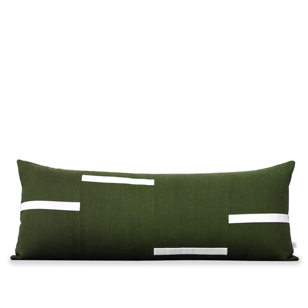 Interconnection Pillow - Olive and Cream Dashes