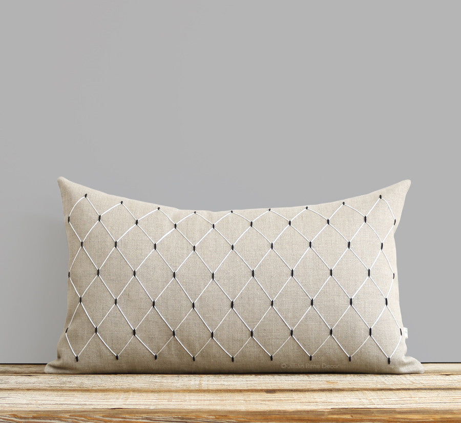 Window Pane Pillow - Hand Embroidered