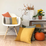 Striped Pillow - Marigold, Stone Grey and Natural Linen
