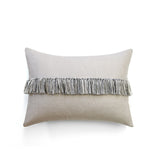 12x16 Fringe Pillow - Black, Cream and Natural Linen