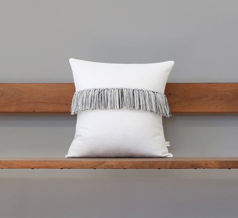 Fringe Pillow - Cream, Black and Natural Linen