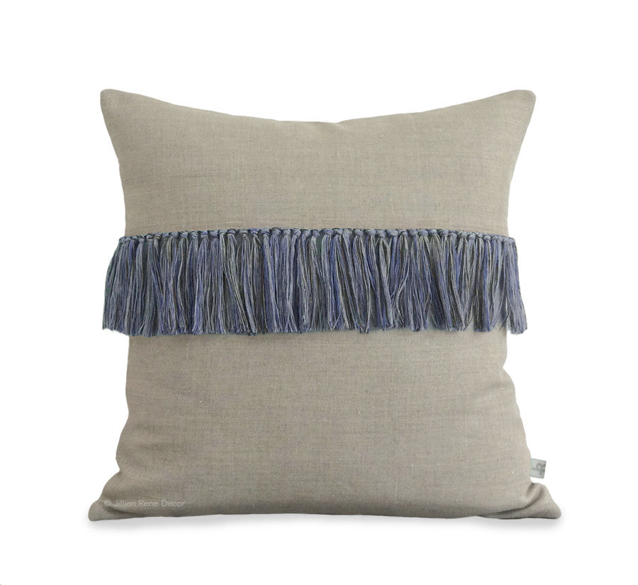 Fringe Pillow - Cobalt, Navy and Natural Linen
