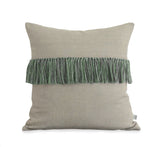 Fringe Pillow - Kelly, Navy and Natural Linen