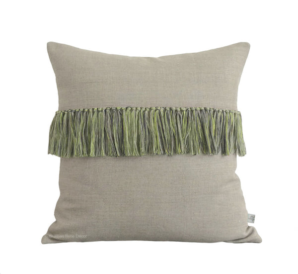 Fringe Pillow - Lime, Navy and Natural Linen