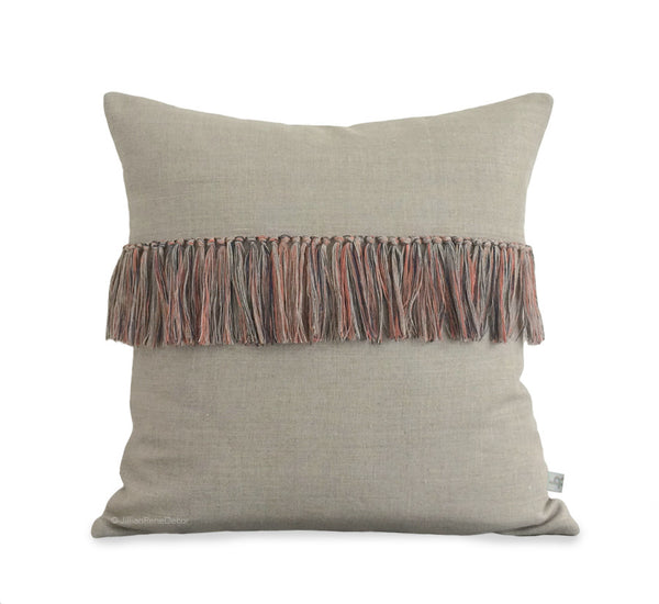 Fringe Pillow - Orange, Navy and Natural Linen