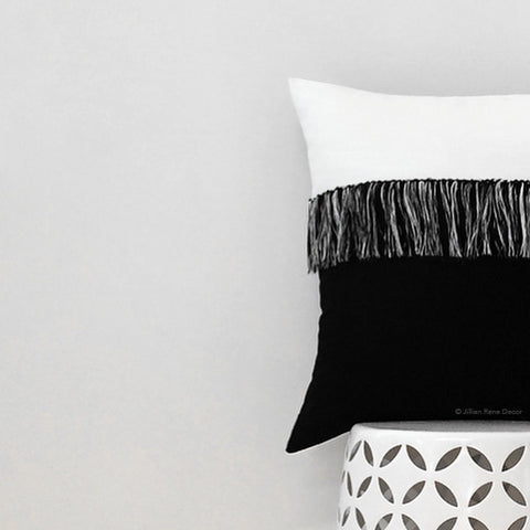 Fringe Pillow - Black/Cream