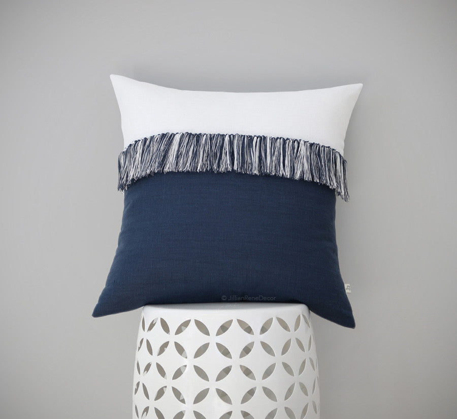 Fringe Tassel Pillow In Navy Amp Cream By Jillian Rene Decor