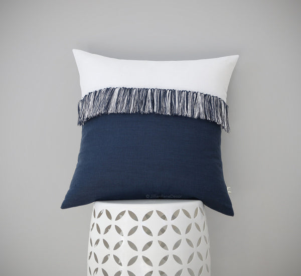 Fringe Tassel Pillow - Navy and Cream