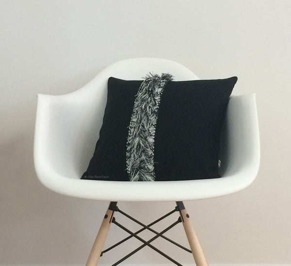 Macrame Fringe Pillow - Black/Cream