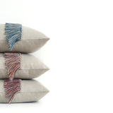 Fringe Pillow - Teal, Navy and Natural Linen