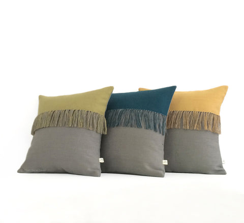 Fringe Pillow - (Custom Color) and Stone Grey