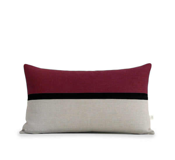 Horizon Line Pillow - Crimson, Black and Natural Linen