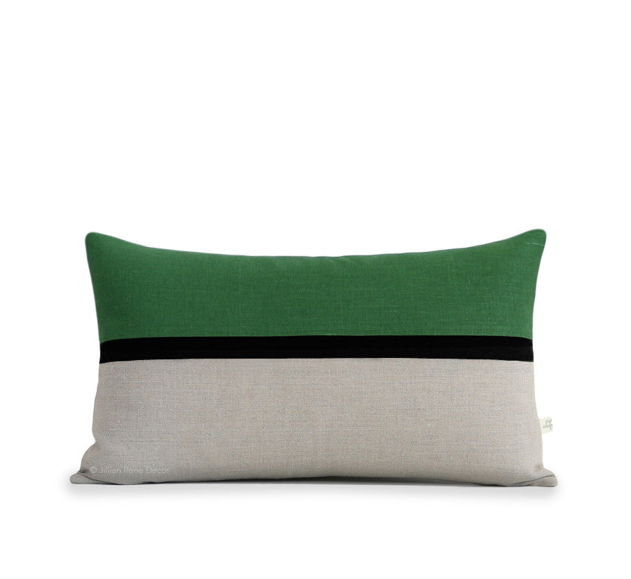 Horizon Line Pillow - Meadow Green, Black and Natural Linen