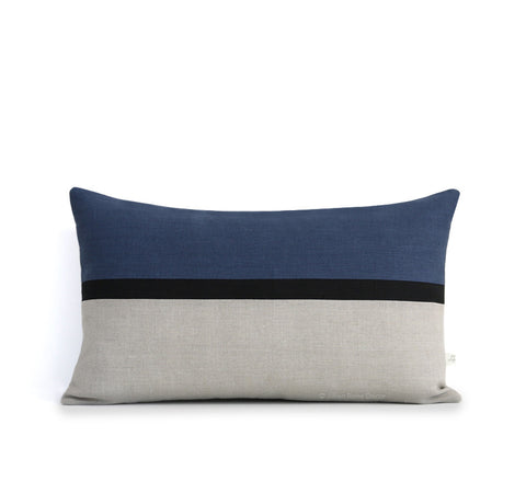 Horizon Line Pillow - Navy Blue, Black and Natural Linen