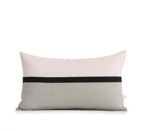 Horizon Line Pillow - Pale Pink, Black and Natural Linen