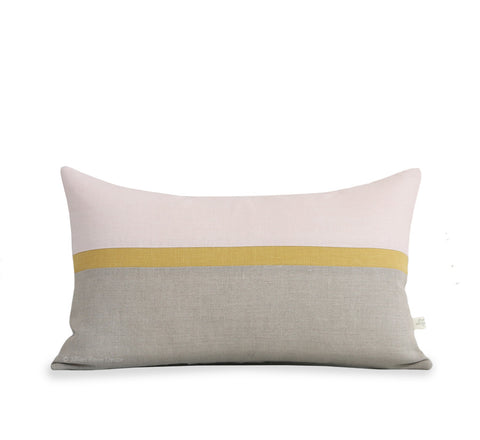 Horizon Line Pillow - Pale Pink, Squash Yellow and Natural Linen