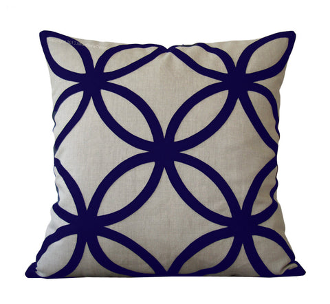 Geometric Pillow - Navy and Natural Linen