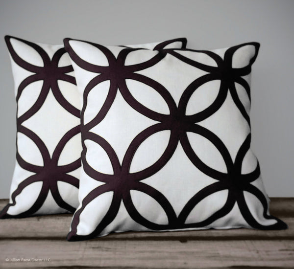 Geometric Pillow - Black and Cream Linen