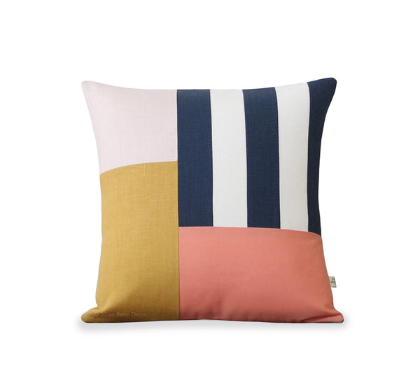 Graphic Grid Pillow - Navy, Cream, Pink, Yellow, Peach