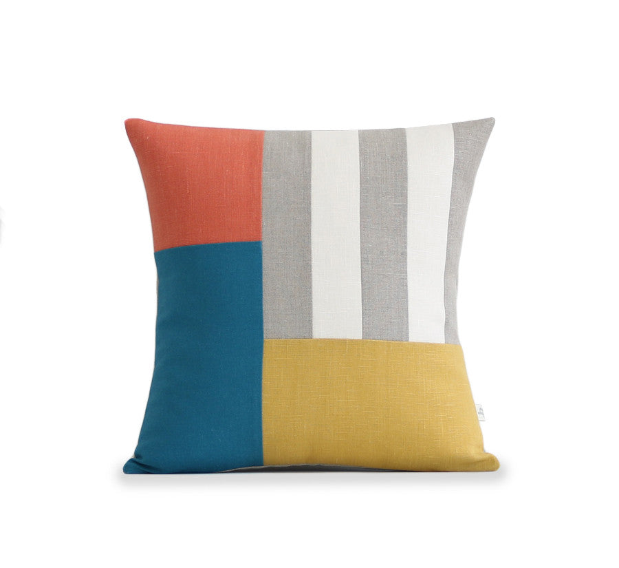 Graphic Grid Pillow - Natural, Ivory, Orange, Teal, Yellow