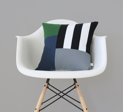 Graphic Grid Pillow - Black, Cream, Meadow, Navy, Grey