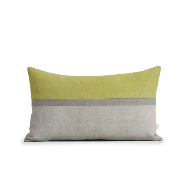 Horizon Line Pillow - Linden Green, Stone and Natural Linen