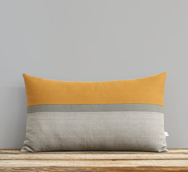 Horizon Line Pillow - Marigold, Stone and Natural Linen