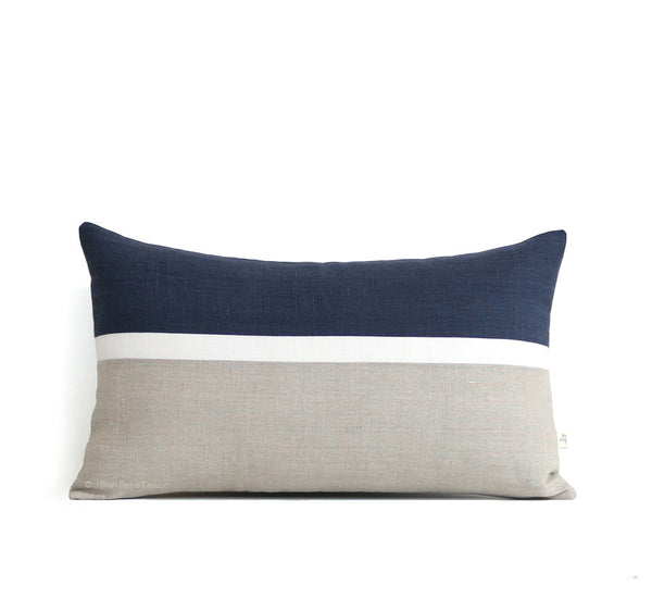 Horizon Line Pillow - Navy, Cream and Natural Linen