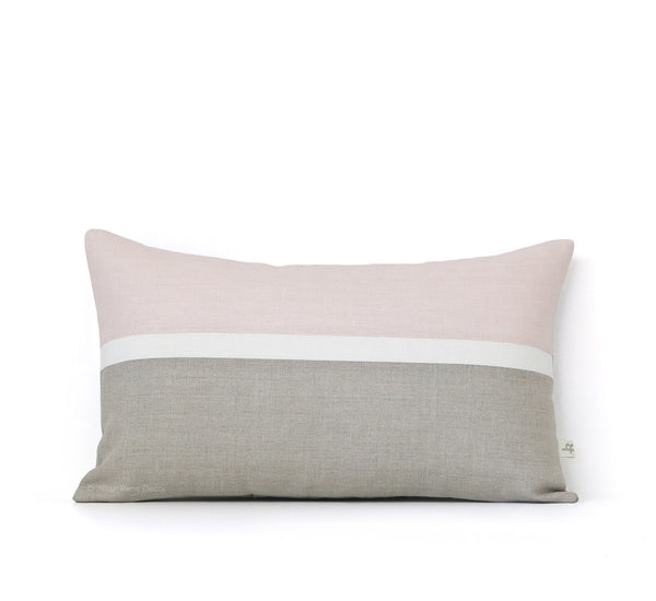 Horizon Line Pillow - Pale Pink, Cream and Natural Linen