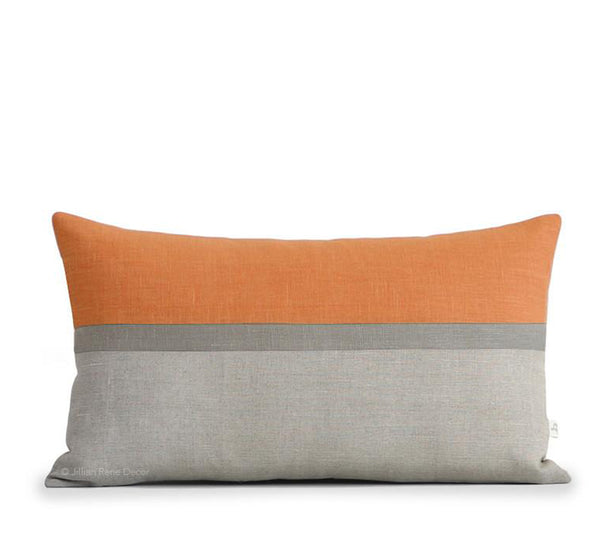 Horizon Line Pillow - Pumpkin Orange, Stone and Natural Linen