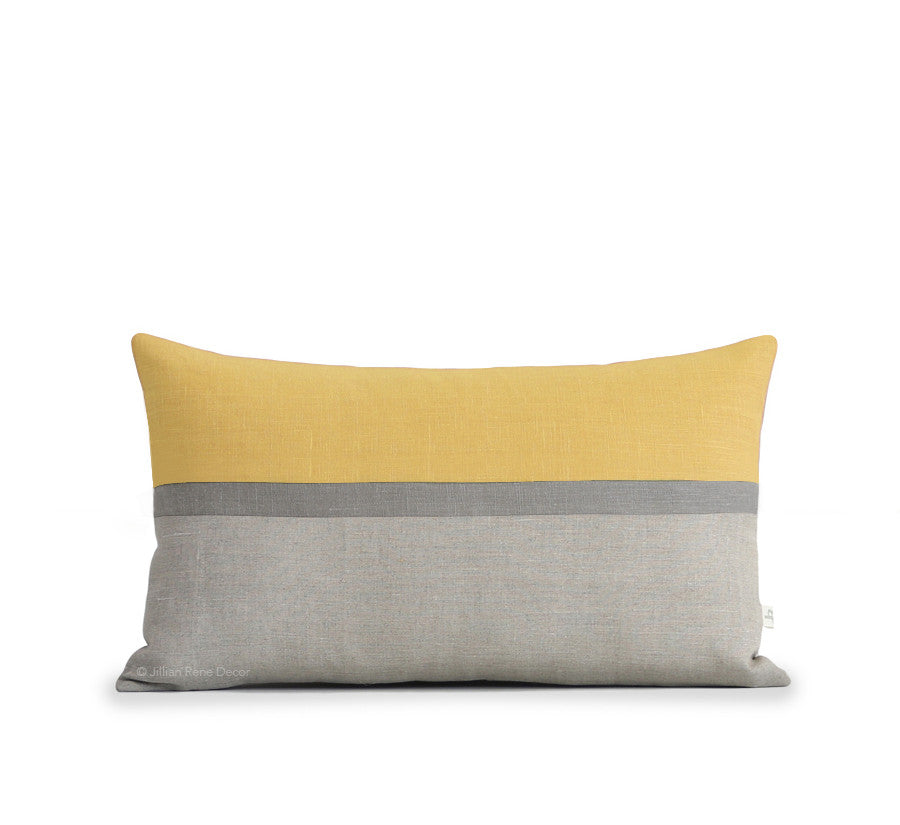 Horizon Line Pillow - Yellow, Stone and Natural Linen